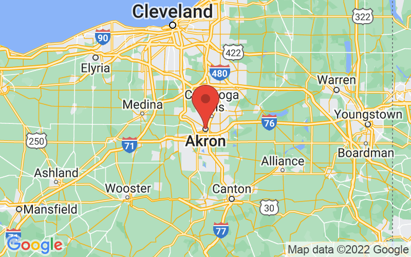 Map of Akron, OH US