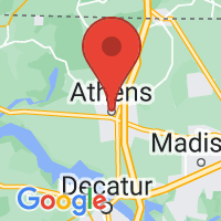 Map of Athens, AL US