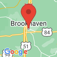 Map of Brookhaven, MS US