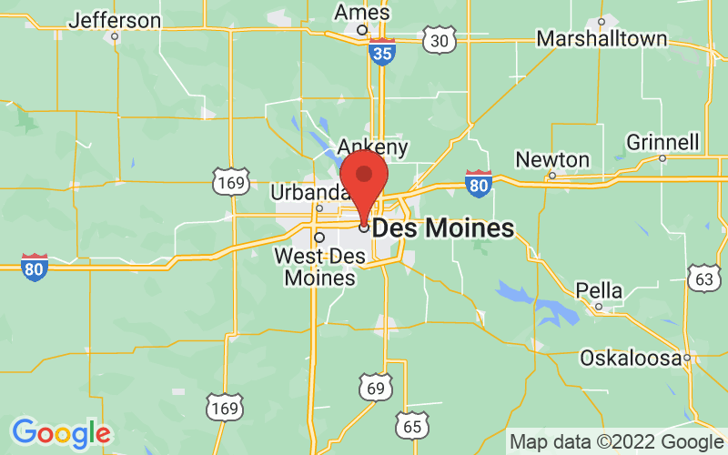 Map of Des Moines, IA US