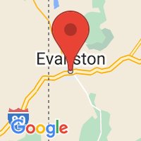 Map of Evanston, WY US