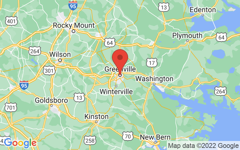 Map of Greenville, NC US