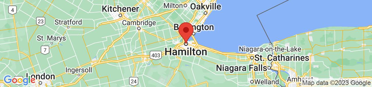 Map of Hamilton, ON