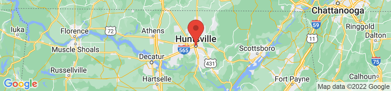 Map of Huntsville, AL