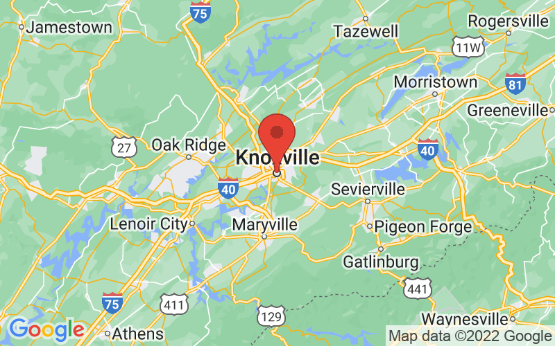 Map of Knoxville, TN US