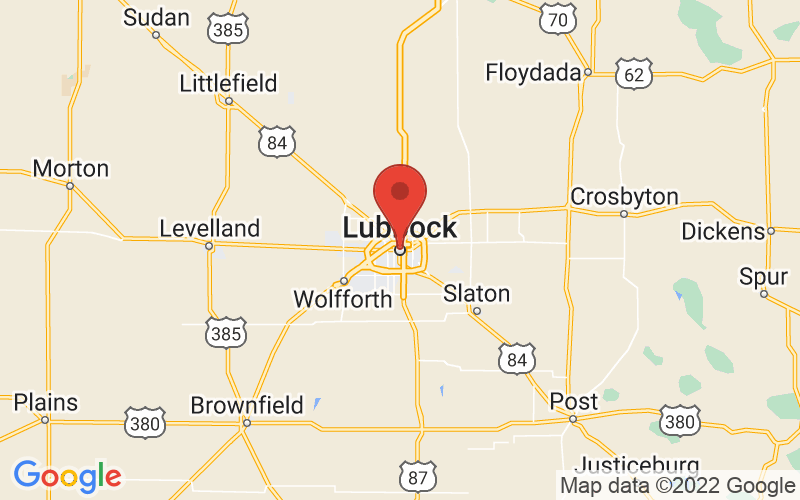 Map of Lubbock, TX US