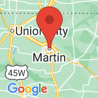 Map of Martin, TN US