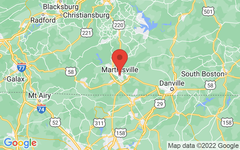 Map of Martinsville, VA US