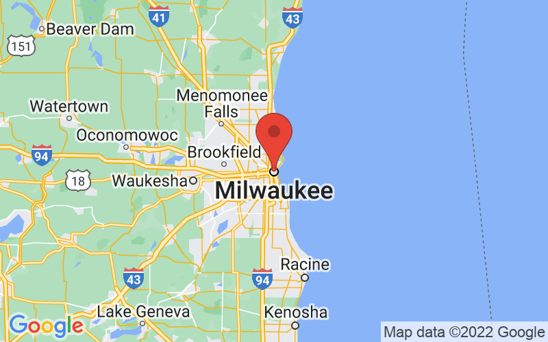 Map of Milwaukee, WI US