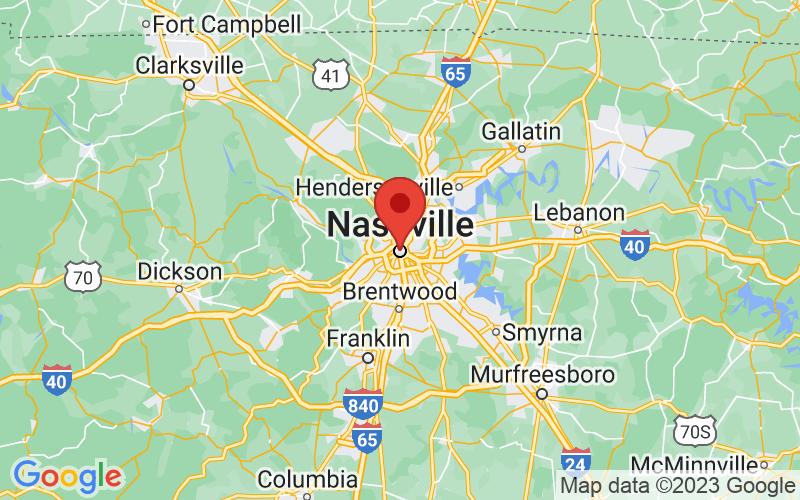 Map of Nashville, TN US