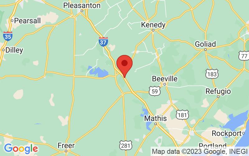 Map of Oakville, TX