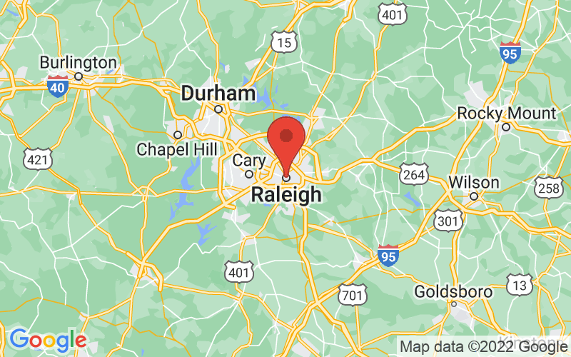 Map of Raleigh, NC US