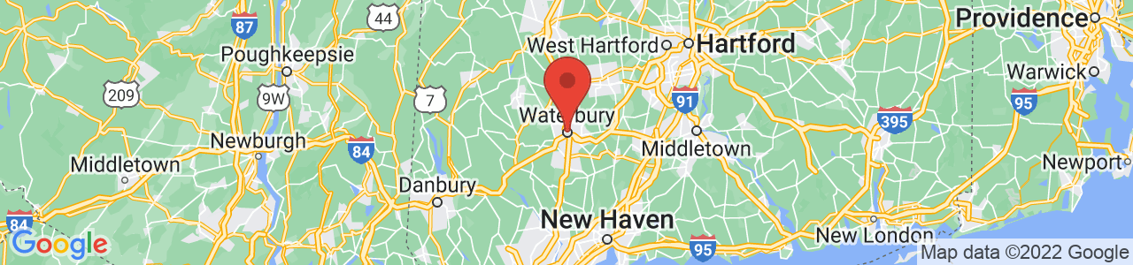 Map of Waterbury, CT